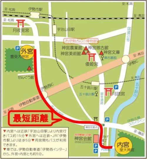 外宮から内宮への地図 最短距離