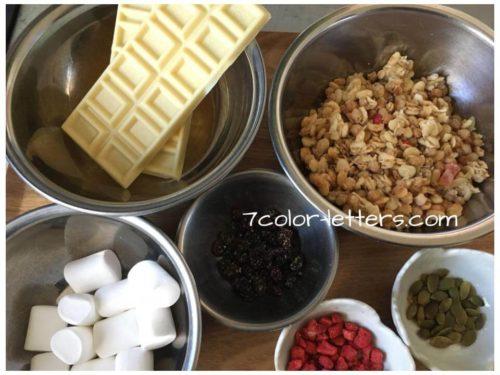 ホワイトチョコクランチ材料