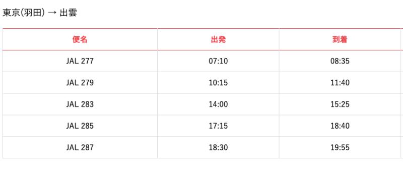 東京から出雲へ行く飛行機時刻表